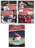 Baseball instruction set including Pitching Skills and Drills, Baseball Hitting Drills, and Infield Skills and Drills