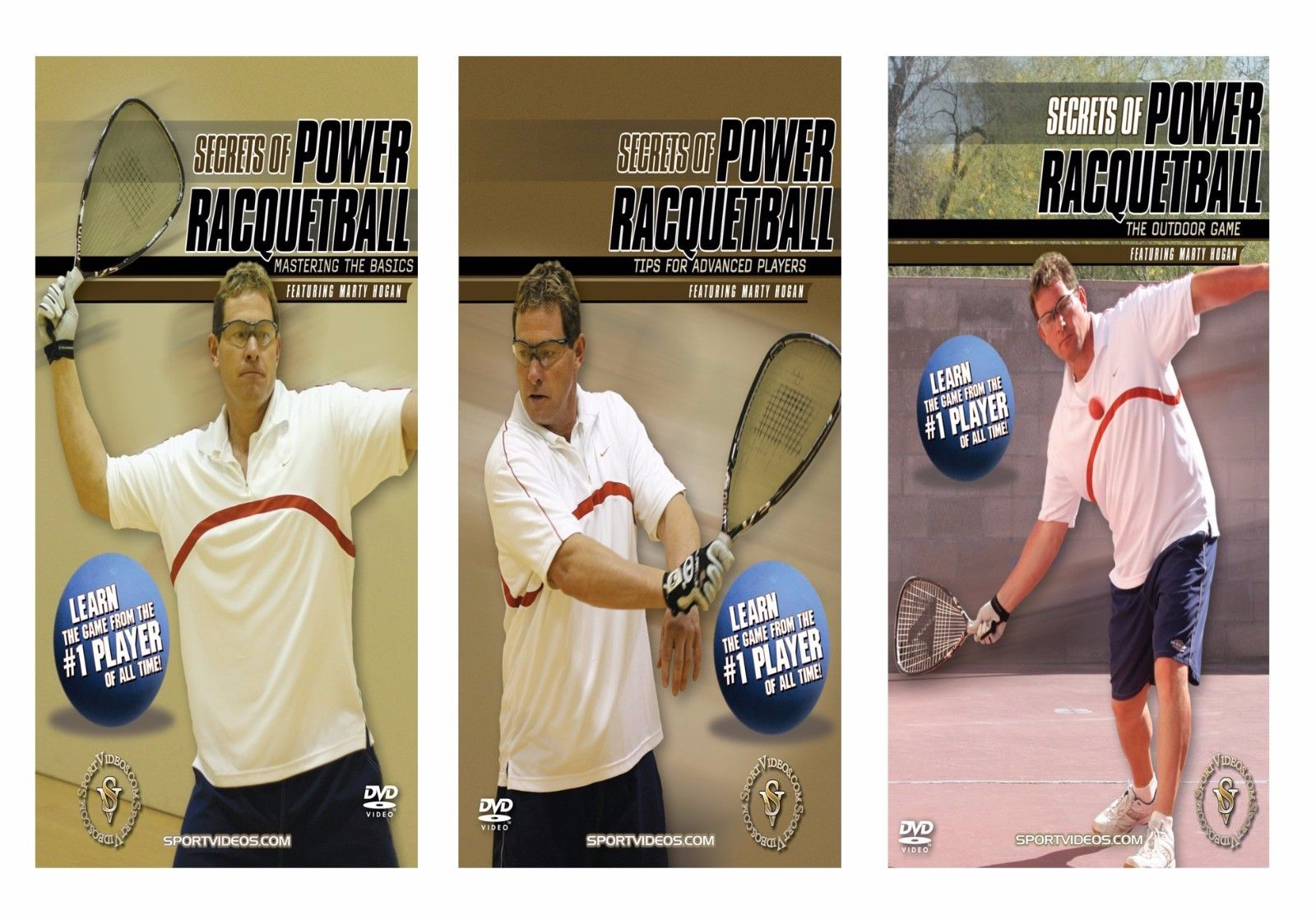 Secrets of Power Racquetball 3 DVD or Video Set featuring Marty Hogan - Free Shipping